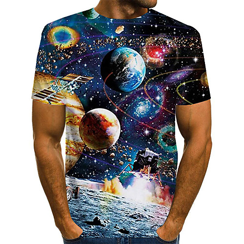 Men's T shirt 3D Print Galaxy Graphic Plus Size Print Short Sleeve Daily Tops Basic Exaggerated Black Blue Red