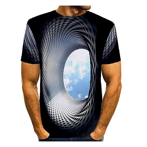 Men's T shirt Graphic Optical Illusion Print Short Sleeve Daily Tops Basic Blue Green Rose Red