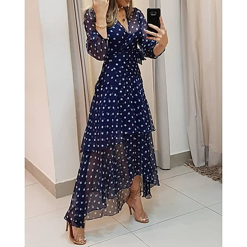 Women's Maxi long Dress Brown Navy Blue 3/4 Length Sleeve Polka Dot Print Summer V Neck Hot Casual vacation dresses 2021 M L XL XXL 3XL