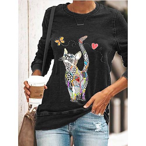 Women's T shirt Cat Graphic Prints Long Sleeve Print Round Neck Tops Basic Basic Top Black Blue Green