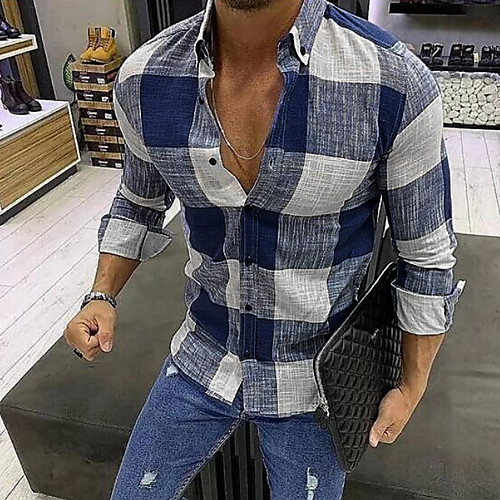 Men's Shirt Plaid Long Sleeve Daily Tops Black Blue Red