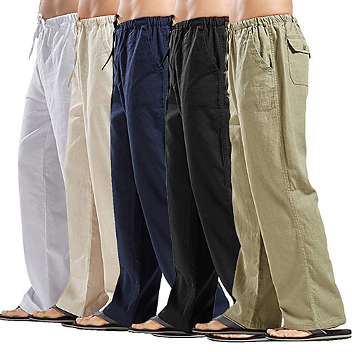 Men's Yoga Linen Pants Wide Leg Elastic Waistband Moisture Wicking Quick Dry White Black Army Green Linen Casual Beach Plus Size Sports Activewear Stretchy Loose / Multiple Pockets