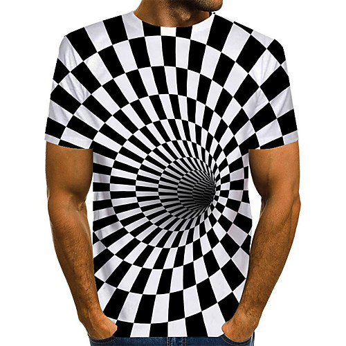 Men's T shirt Graphic Optical Illusion Print Short Sleeve Daily Tops Basic Exaggerated White black Black white White