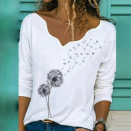 Women's Blouse T shirt Shirt Butterfly Graphic Prints Dandelion V Neck Print Tops Basic Cotton Basic Top Butterfly White Black