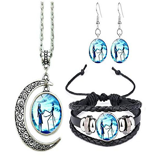 jack and sally nightmare before christmas moon pendant necklace, earrings, bracelet, charms gift (b)