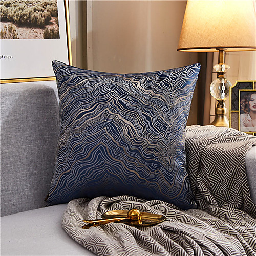 Texture Color Matching Gold Line Jacquard Embroidered Pillow Case Cover Living Room Bedroom Sofa Cushion Cover