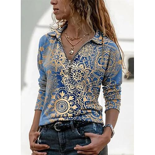 Women's Blouse T shirt Shirt Floral Graphic Prints Long Sleeve Quarter Zip Print V Neck Shirt Collar Tops Basic Basic Top Blue Purple Green
