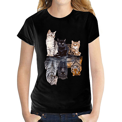 Women's T shirt Butterfly Graphic Prints Round Neck Tops 100% Cotton Basic Top Black and White Cat White