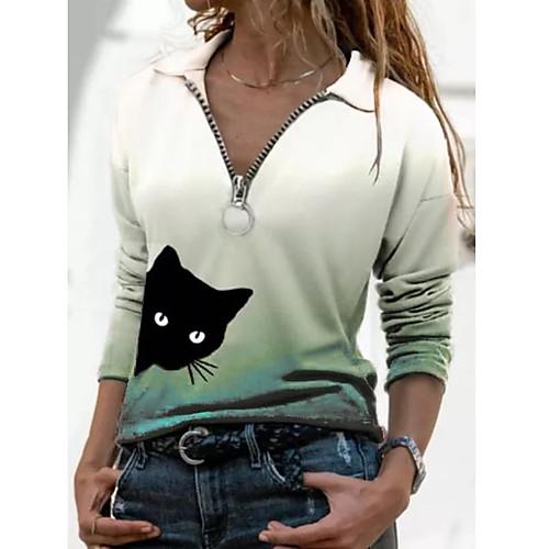Women's T shirt Color Gradient Cat Long Sleeve Quarter Zip Shirt Collar Tops Basic Basic Top Purple Red Green
