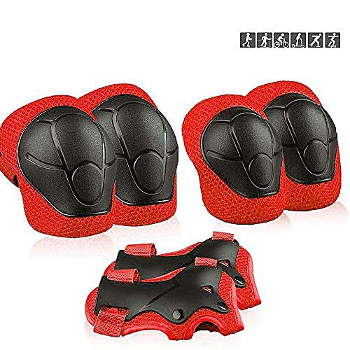 kids sports protective gear, children knee pads elbow pads wrist guards set for skating cycling bike and other outdoor sports (red)