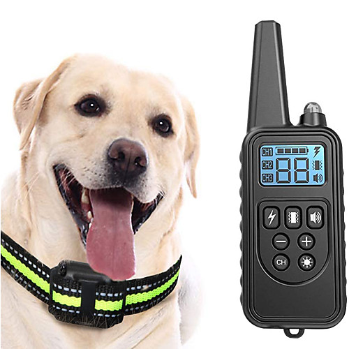Dog Training Shock Collar LCD Electric Dog Pets Reflective Trainer Anti Bark Rechargable Behaviour Aids Obedience Training For Pets