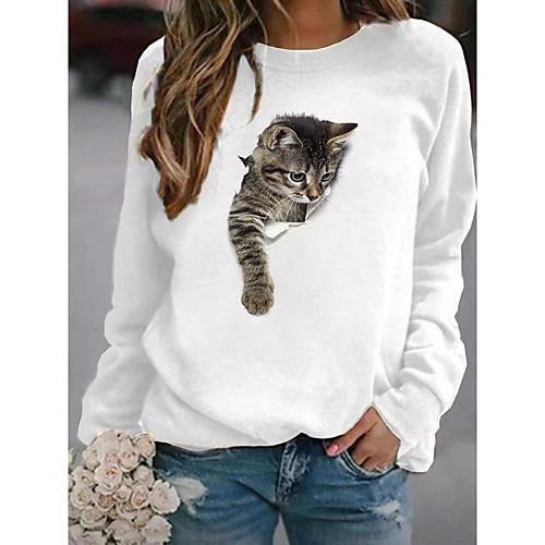 Women's Pullover Sweatshirt Cat Graphic 3D Cartoon Casual Daily Other Prints Basic Hoodies Sweatshirts White Yellow Blushing Pink