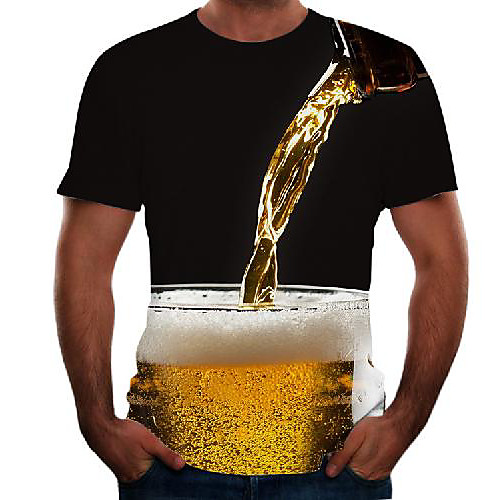Men's Graphic 3D Beer Plus Size T shirt Short Sleeve Going out Tops Basic Round Neck Black