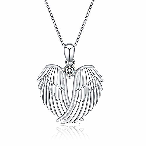 angel wings necklace 925 sterling silver guardian angel wings pendant necklace for women jewelry gifts
