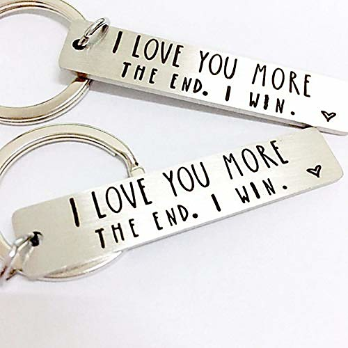 Keychain i love you more.the end i win stainless steel key chain lettering keychain