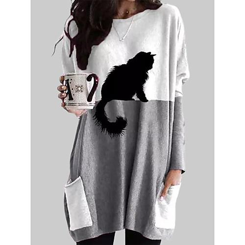 Women's T shirt Dress Cat Graphic Prints Long Sleeve Pocket Patchwork Round Neck Tops Basic Basic Top Gray