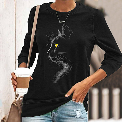 Women's T shirt Cat Graphic Long Sleeve Print Round Neck Tops Basic Basic Top Black