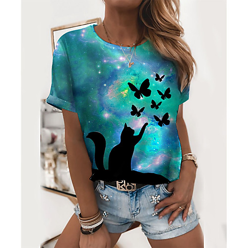 Women's T shirt Cat Graphic Butterfly Print Round Neck Tops Basic Basic Top Blue Purple Red