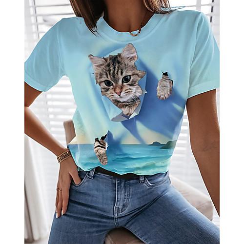 Women's T shirt Cat Graphic 3D Print Round Neck Tops Basic Basic Top Blue