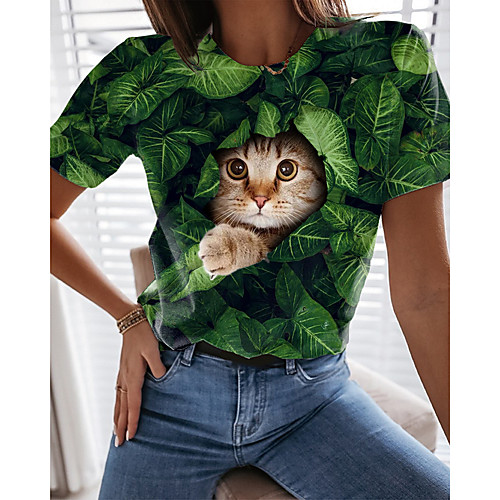 Women's T shirt Cat Graphic 3D Print Round Neck Tops Basic Basic Top Green