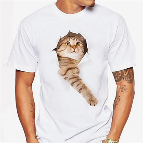 Men's T shirt Shirt 3D Print Cat Graphic Print Short Sleeve Daily Tops Casual Sports Round Neck Light Pink Black / White Coral Orange / Summer