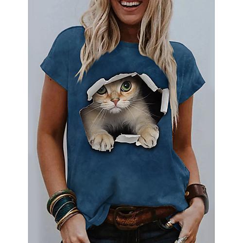 Women's 3D Cat T shirt Cat Graphic 3D Print Round Neck Tops Basic Basic Top Blue Yellow Dark Gray