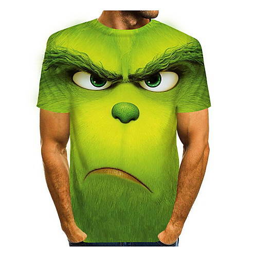 Men's Tee T shirt 3D Print Graphic Prints Animal Short Sleeve Casual Tops Cartoon Big and Tall Purple Green Light Green