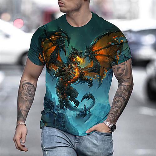 Men's Tee T shirt Shirt 3D Print Dragon Graphic Anime Plus Size Print Short Sleeve Daily Tops Streetwear Exaggerated Golden Blue Orange