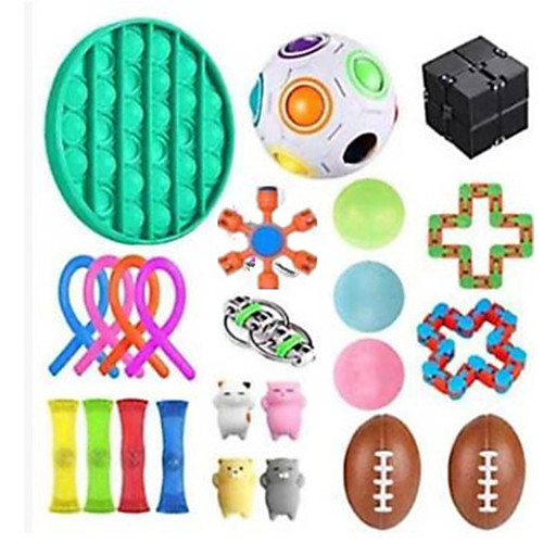 Squishy Toy Throwing Toy Push Pop Bubble Sensory Fidget Toy Stress Reliever 24 pcs Mini Football Rugby Creative Transformable Cute Stress and Anxiety Relief Fun Strange Toys Decompression Toys Funny