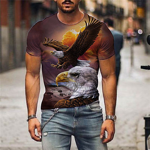 Men's T shirt 3D Print Graphic Print Short Sleeve Party Tops Exaggerated Blue Yellow Light Brown