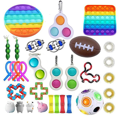 32 pcs Fidget Sensory Toy Set Stress Relief Toys Autism Anxiety Relief Stress Pop Bubble Fidget Sensory Toy For Kids Adults