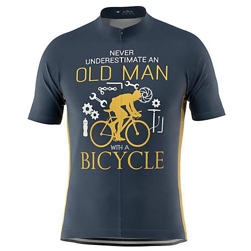 21Grams Old Man Men's Short Sleeve Cycling Jersey Summer Blushing Pink Dark Gray Green Bike Top Mountain Bike MTB Road Bike Cycling Breathable Sports Clothing Apparel