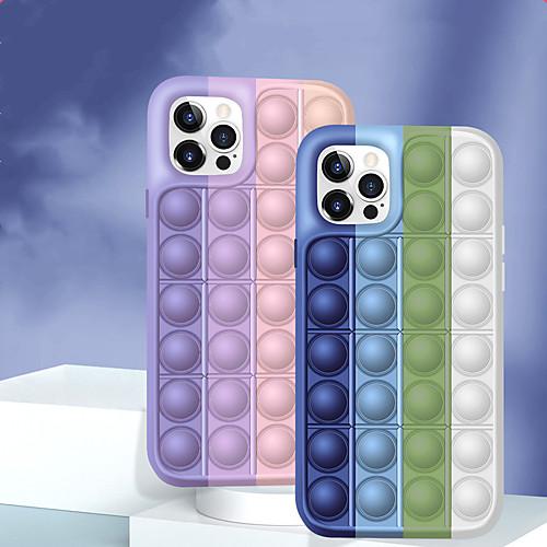 Fidget Toys Phone Case For iPhone 12 11 Pro Max Rainbow Push Pop Bubble Protecive Silicone Case for iPhone XS Max XR X 7 8 Plus Stress Relief Fidget Case