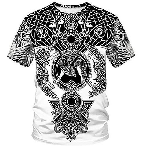 duolifu unisex 3d printed cool vikings tattoo norse mythology blouse t-shirt tops,fenrir wolf,s