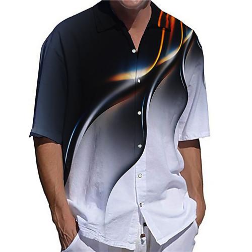 Men's Tee Shirt 3D Print Graphic Prints Plus Size 3D Print Button-Down Short Sleeve Casual Tops Casual Fashion Streetwear Breathable Black / Sports