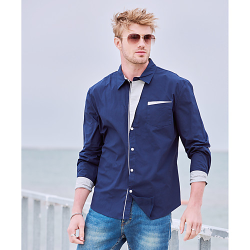 Men's Shirt Solid Colored Plus Size Basic Long Sleeve Daily Slim Tops Cotton Casual Office / Business Spread Collar White Red Navy Blue / Fall / Spring / Work