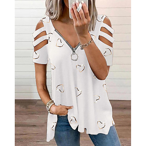 Women's Blouse Eyelet top Shirt Graphic Heart Cut Out Zipper V Neck Basic Casual Tops Loose Blue Purple Blushing Pink