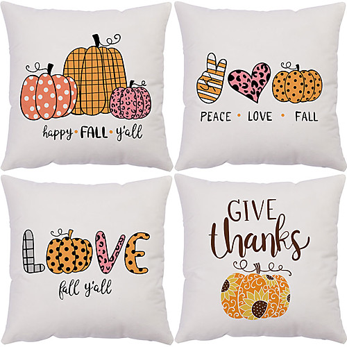 Autumn Double Side Cushion Cover 4PC Soft Decorative Square Throw Pillow Cover Cushion Case Pillowcase for Bedroom Livingroom Superior Quality Machine Washable Outdoor Cushion for Sofa Couch Bed Chair Pumpkin Fall