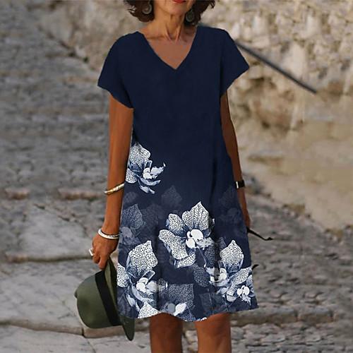 Women's A Line Dress Knee Length Dress Blue Short Sleeve Floral Print Summer V Neck Casual 2021 S M L XL XXL 3XL