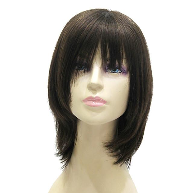 Peruca fara cap fara par Drept Drept Tunsoare bob Frizură în Straturi Coafuri scurte 2020 Perucă Mediu Negru Păr Natural 15 inch Pentru femei