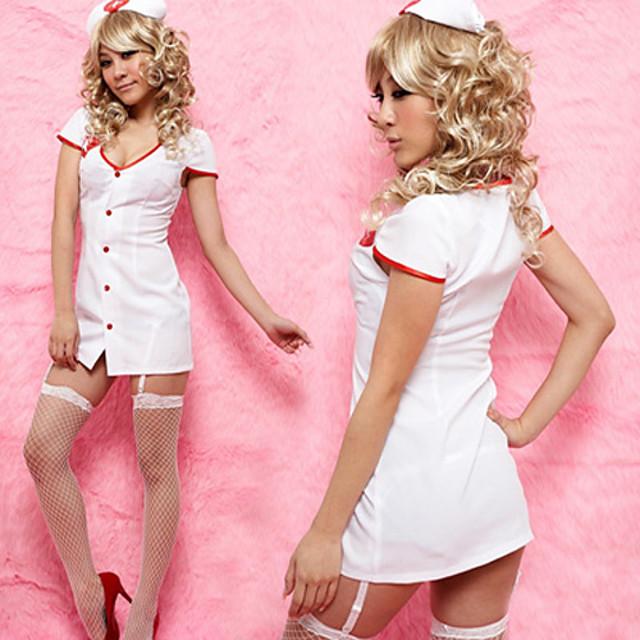 Pentru femei Costume de carieră Asistente Uniforme de Spital Sex Costum Cosplay Costum de petrecere Mată Geacă Accesoriu de Păr