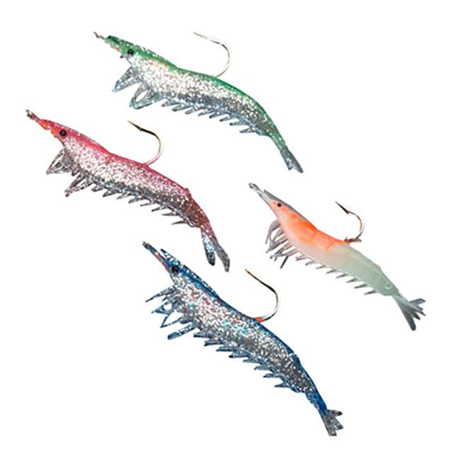 4 pcs Δόλωμα Momeală moale Pachete momeală Crevetă Bas Păstrăv Ştiucă Pescuit mare Pescuit de Apă Dulce Pescuit Biban