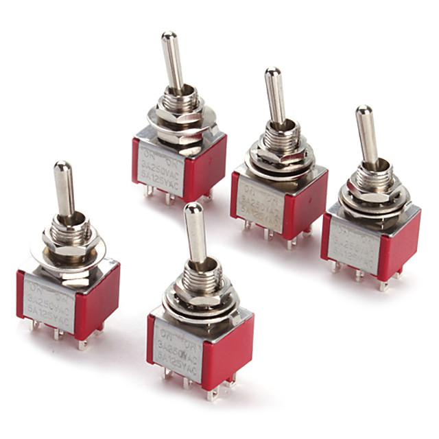6p comutator de comutare pentru electronice di ac ac 250v 2a 120v 5a spdt on / off / on (5 bucăți un pachet)