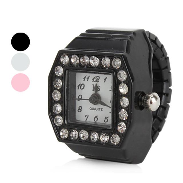 Women's Ring Watch Diamond Watch Square Watch Japanese Quartz Black / White / Pink Imitation Diamond Ladies Sparkle - White Black Pink One Year Battery Life / SSUO SR626SW