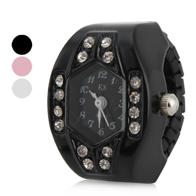 Pentru femei Ceas inel Japoneză Quartz Negru / Alb / Pink imitație de diamant Analog femei Sclipici - Alb Negru Roz