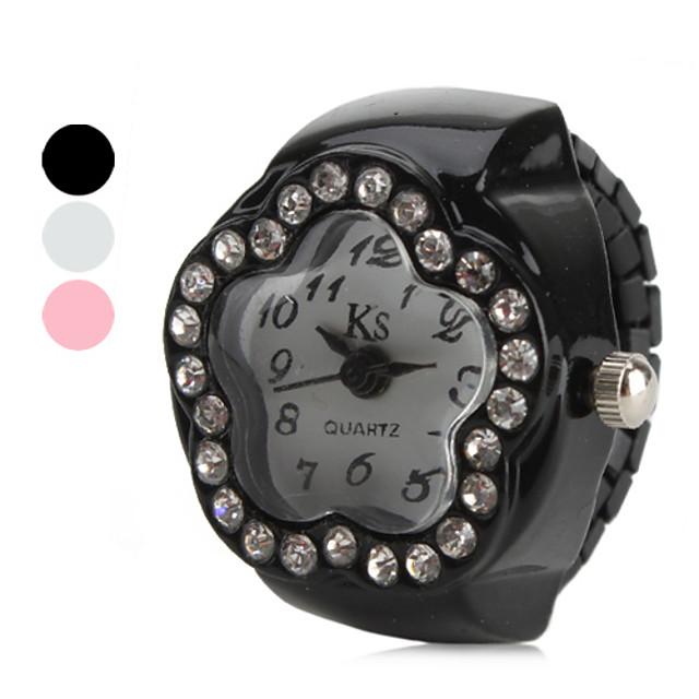 Pentru femei Ceas inel Diamond Watch Japoneză Quartz Negru / Alb / Pink imitație de diamant femei Floare - Alb Negru Roz