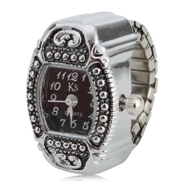 Žene Sat prsten Square Watch Japanski Kvarc Srebro Analog dame Šarm Jedna godina Baterija Život / SSUO SR626SW