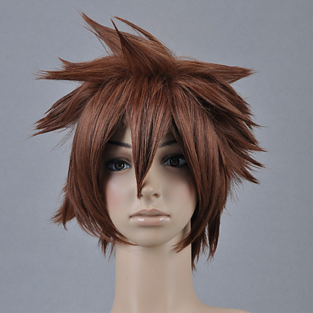 Kingdom Hearts Sora Men's 12 inch Heat Resistant Fiber Anime Cosplay Wigs