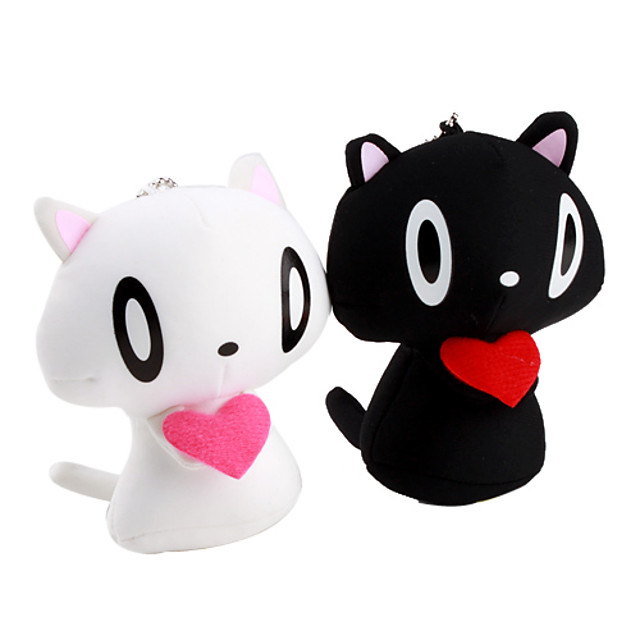 Mini Cat Couple Figure Toy with Suction Cups - White and Black (Pair)