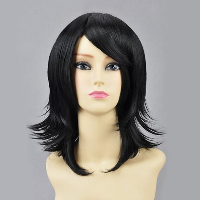 Naruto Shizune Cosplay Wigs Žene 16 inch Otporna na toplinu vlakna Crn Anime